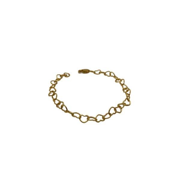 Silver Plain Heart Shape Trace Chain Anklet