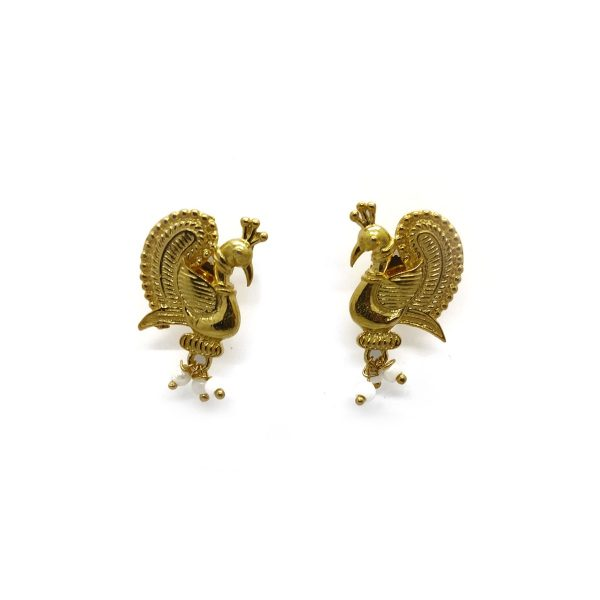 18K Gold Plated Peacock Feather Earrings