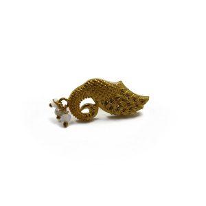 Gold Brass Peacock Earrings
