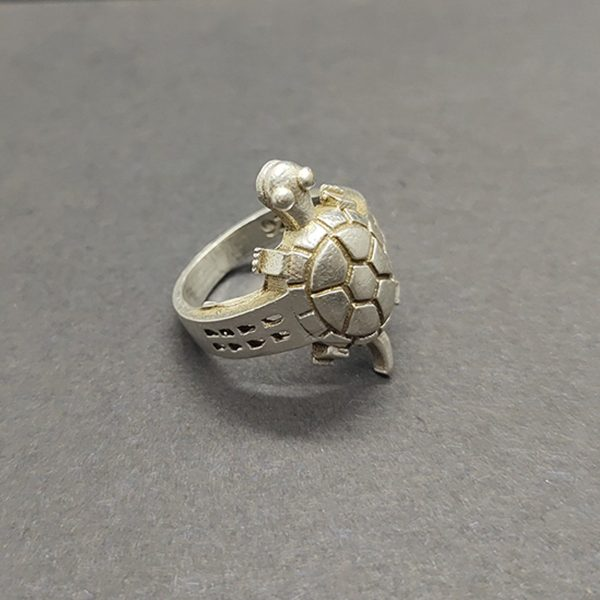 925 Solid Sterling Silver Sing, Auspicious Ring, Turtle Silver Ring, Handmade Ring, Oval Shape Ring