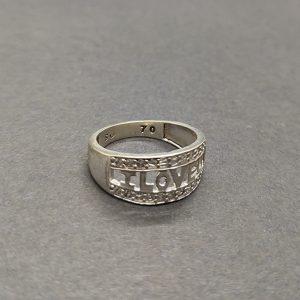 I Love U Silver Ring